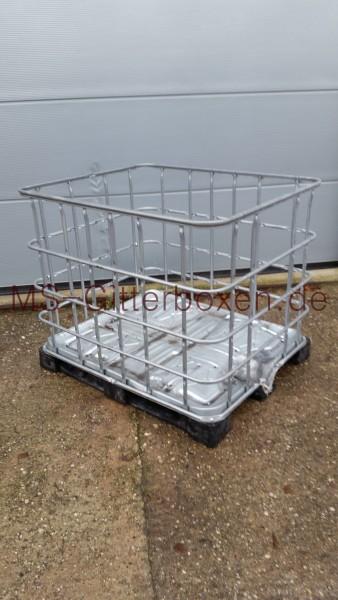 ibc gb 800l stahl pe holzpalette verzinkte gitterbox mit gro er masche infos zu ibc. Black Bedroom Furniture Sets. Home Design Ideas